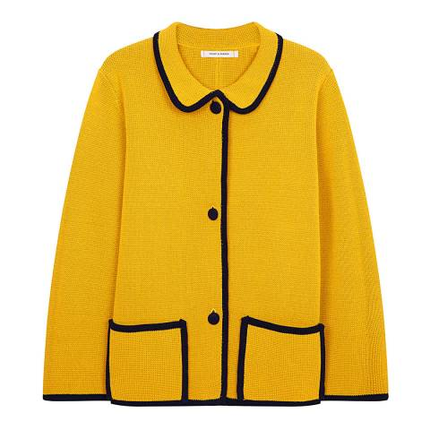 Chinti and Parker Mustard/ Navy Piped Milano Jacket