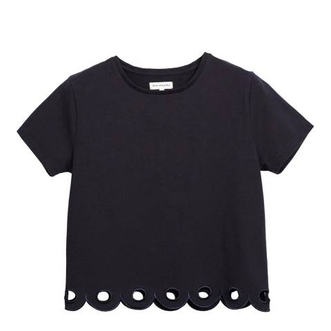 Chinti and Parker Navy Short Sleeved Scallop Hem T- Shirt