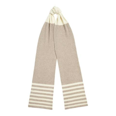 Chinti and Parker Oatmeal/Cream Stripe Mix Cashmere Scarf