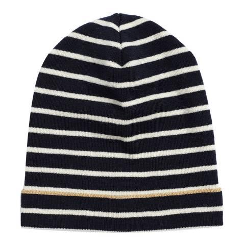 Chinti and Parker Black/Cream/Gold Lurex Breton Wool Hat