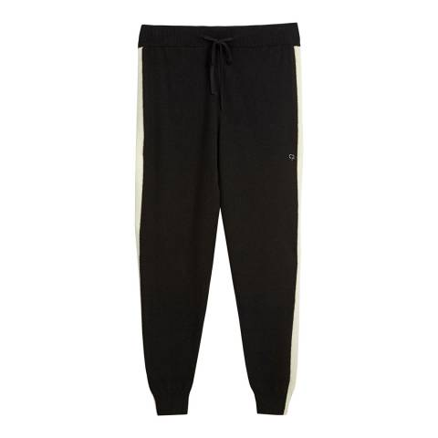 Chinti and Parker Black/Cream Cashmere Vertical Stripe Track Pant