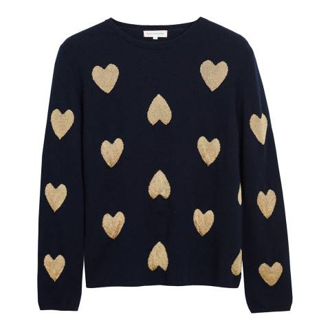 Chinti and Parker Navy/ Gold Lurex Cashmere Blend Heart Sweater