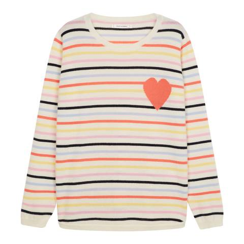 Chinti and Parker Cream/Multi Striped Heart Cashmere Sweater