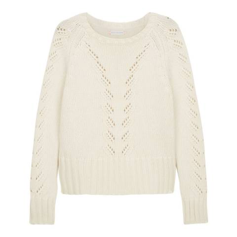 Chinti and Parker Cream Cashmere Lace Knit Sweater
