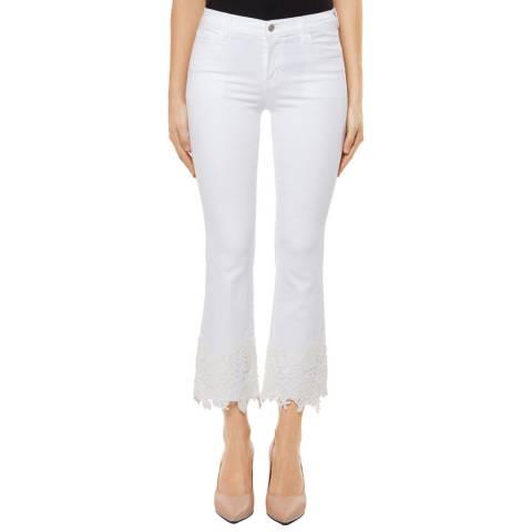 J Brand White Lace Selena Crop Bootcut Stretch Jeans