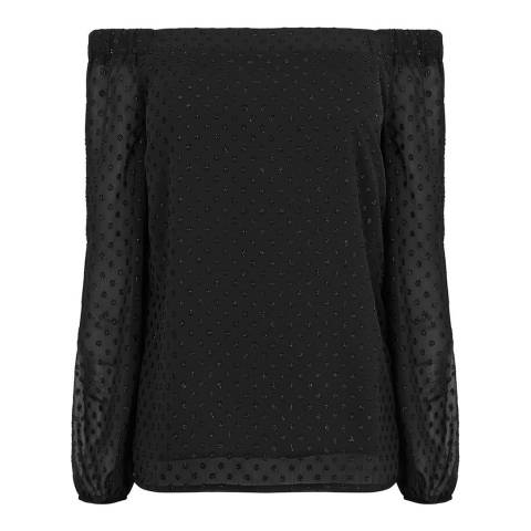 Oasis Black Dobby Bardot Long Sleeve Top