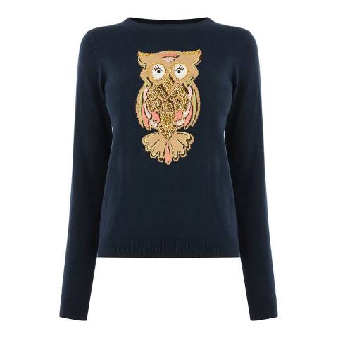 Oasis Navy Owl Embroidery Jumper