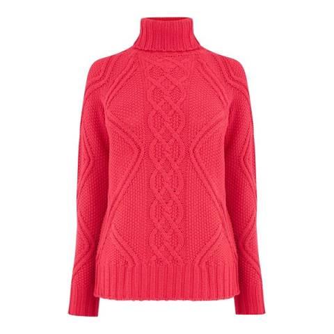 Oasis Pink Matilda Raglan Cable Knit Jumper
