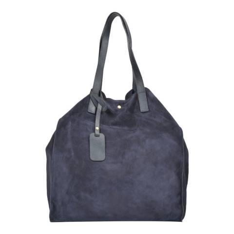 Carla Ferreri Dark Blue Leather Shopper Bag
