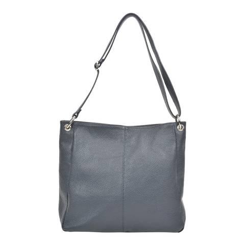 Carla Ferreri Dark Blue Leather Shoulder Bag