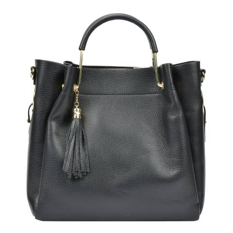 Carla Ferreri Black Leather Tote Bag