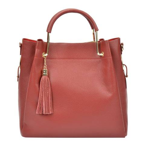 Carla Ferreri Red Leather Tote Bag