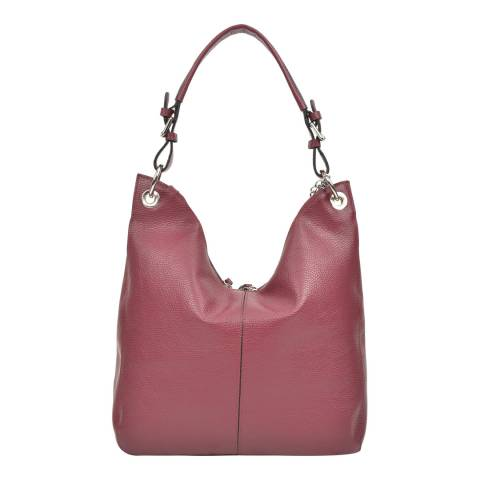 Carla Ferreri Wine Leather Hobo Bag