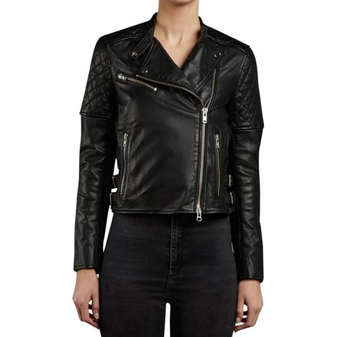 Muubaa Black Siata Quilted Leather Biker Jacket