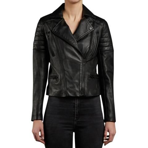 Muubaa Black Hudson Leather Biker Jacket