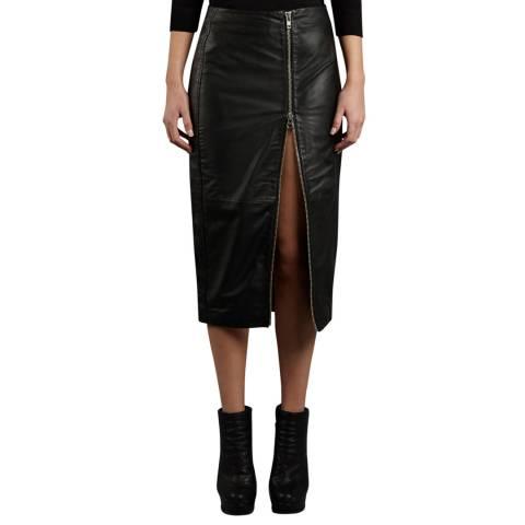 Muubaa Black Jowett Longline Leather Pencil Skirt