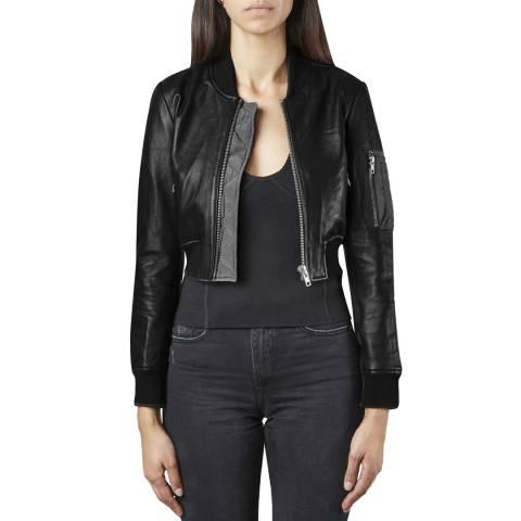 Muubaa Black Bantam Cropped Leather Bomber Jacket