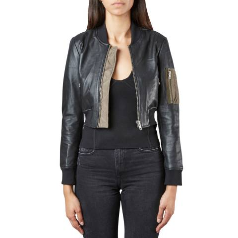 Muubaa Black/Khaki Bantam Leather Bomber Jacket