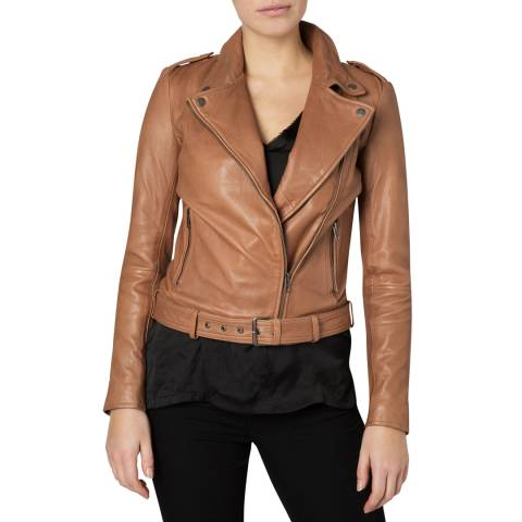 Muubaa Light Tan Leather Argal Biker Jacket