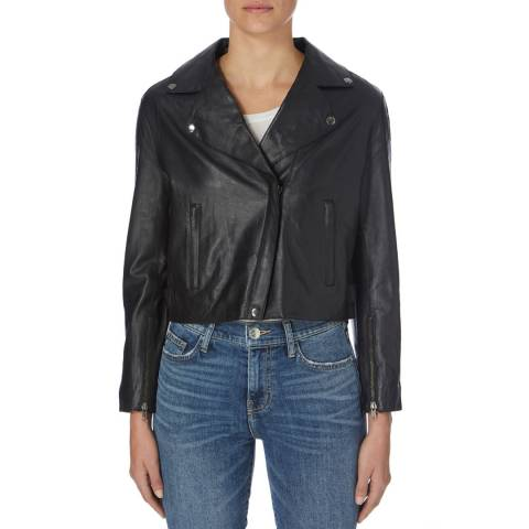 Muubaa Black Paso Bonded Leather Biker Jacket