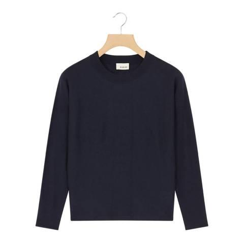Rodier Navy Cashmere Mix Round Neck Pullover