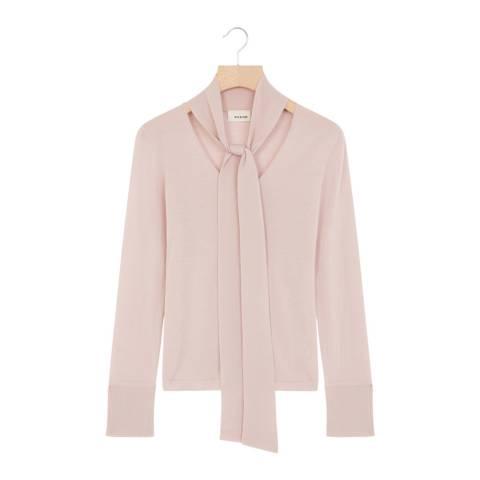 Rodier Light Pink Wool Tie Collar Pullover