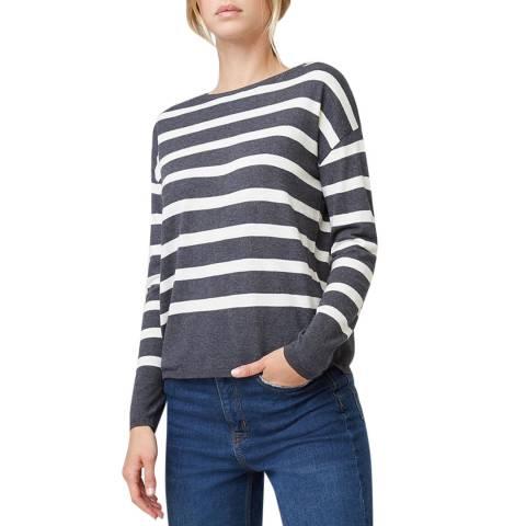 Rodier Grey Striped Cashmere Mix Round Neck Pullover
