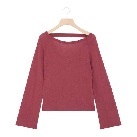 Rodier Red Cashmere Mix Wide Neck  Pullover