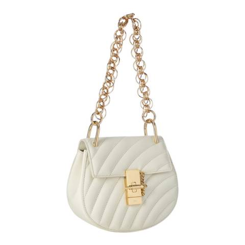 Chloé White Chloe Drew Quilted Small Gold Chain Shoulder Bag