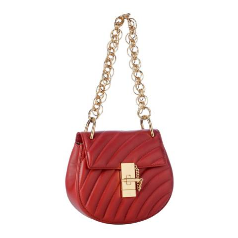Chloe Red Chloe Drew Quilted Medium Gold Chain Shoulder Bag