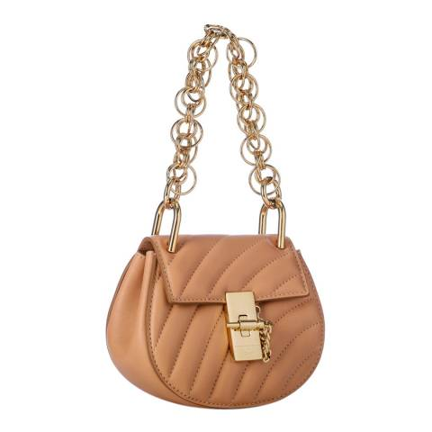 Chloe Rose Blush Chloe Drew Quilted Small Gold Chain Shoulder Bag