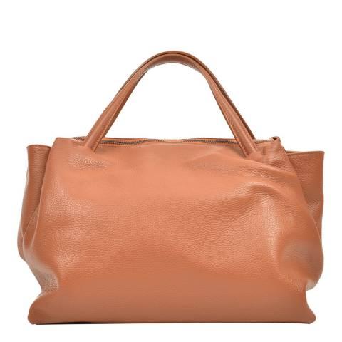 Carla Ferreri Cognac Leather Tote Bag