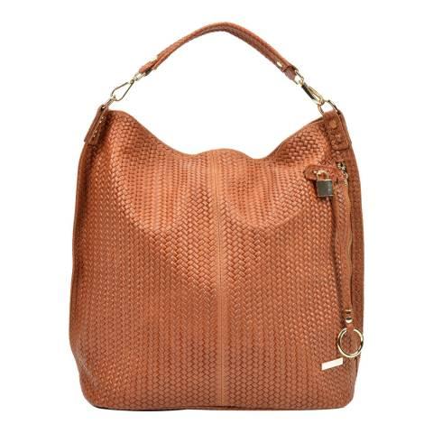Renata Corsi Cognac Leather Hobo Bag