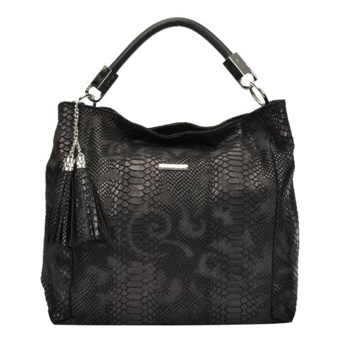 Carla Ferreri Black Leather Hobo Bag