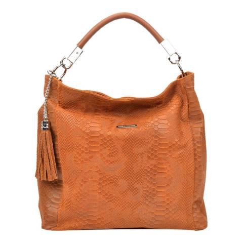 Carla Ferreri Cognac Leather Hobo Bag