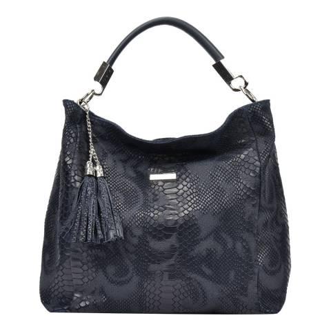 Carla Ferreri Blue Leather Hobo Bag