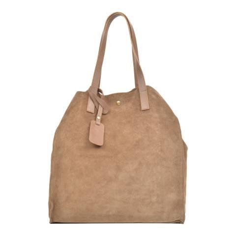 Carla Ferreri Beige Leather Shopper Bag