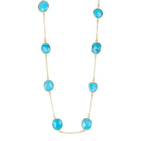 Liv Oliver 18K Gold Turquoise Station Long Necklace
