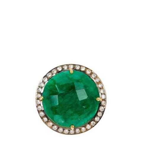 Liv Oliver 18K Gold Emerald  Cz Statement Ring