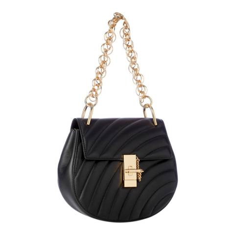 Chloe Black Chloe Drew Quilted Large Gold Chain Shoulder Bag