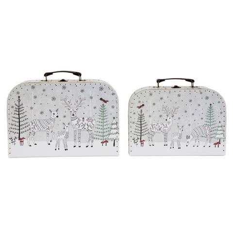 Sass & Belle Set Of 2 Winter Forest Folk Deer Suitcases