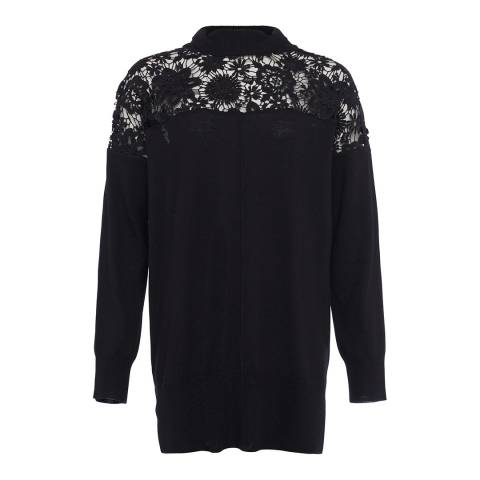 French Connection Black Nadia Lace Wool Blend Jumper