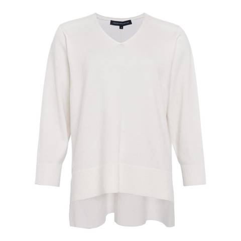 French Connection Winter White Ebba Vhari V Neck Wool Blend Jumper