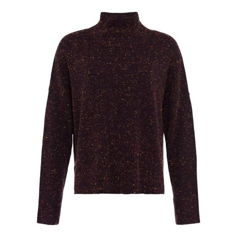 French Connection Aubergine Fleck Faray Mock Neck Wool Blend Jumper