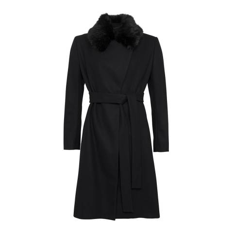 French Connection Black Platform Felt Fur Trim Wool and Cashmere Blend Coat