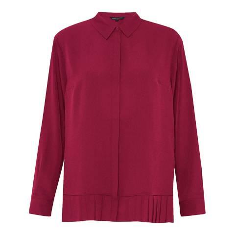 French Connection Cherry Crepe Light Pleat Hem Shirt