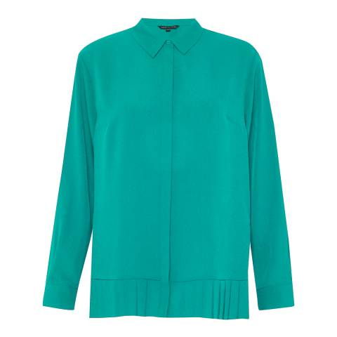 French Connection Teal Crepe Light Pleat Hem Shirt