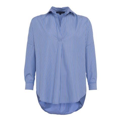 French Connection Blue Multi/White Bega Stripe Dip Hem Shirt