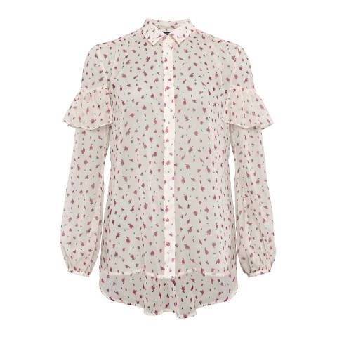 French Connection Cream Florence Crinkle Blouse