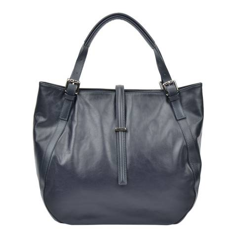 Carla Ferreri Blue Leather Tote Bag